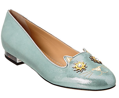 Charlotte Olympia Mechanical Textured Metallic Suede Flat