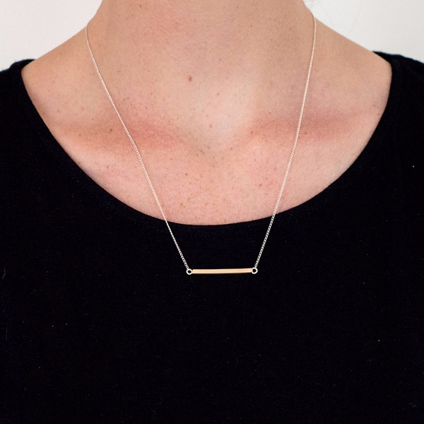 Angular Bar Necklace Gold | Ellie Air Jewellery | Wolf & Badger