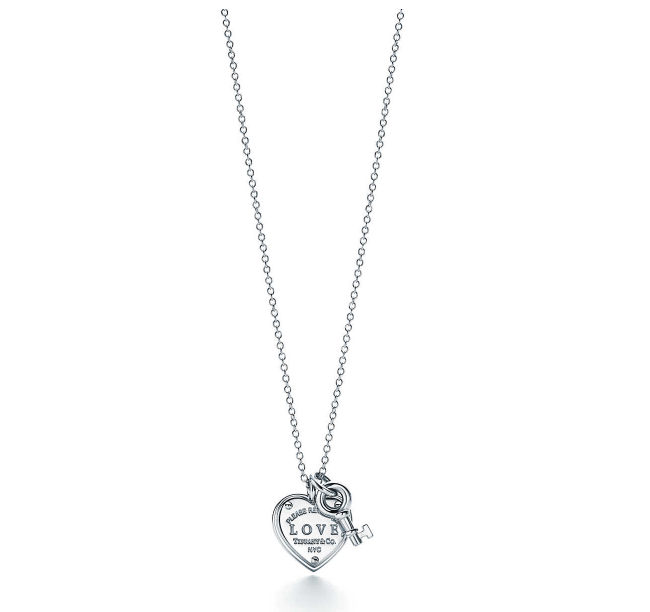 Return to Tiffany® Love heart tag key pendant in sterling silver.   Tiffany & Co.