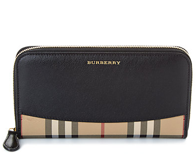Burberry Elmore Horseferry Check & Leather Zip Around Wallet