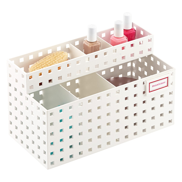 White Like-it Bricks Manicure Storage | The Container Store