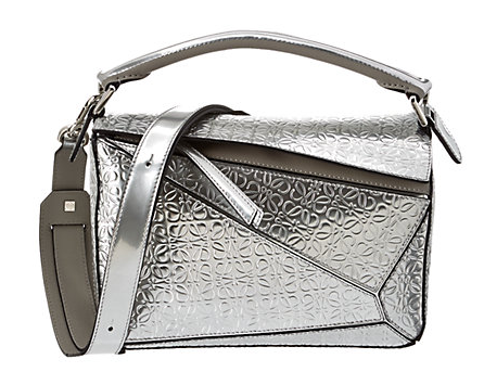 Loewe Puzzle Small Engraved Metallic Leather Shoulder Bag