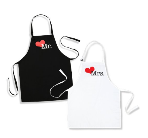 Mr. And Mrs. Aprons Est. 2016 with Heart Wedding Gift for Couples: Kitchen & Dining
