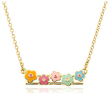 Little Miss Twin Stars 14K Plated Frosted Flowers Necklace