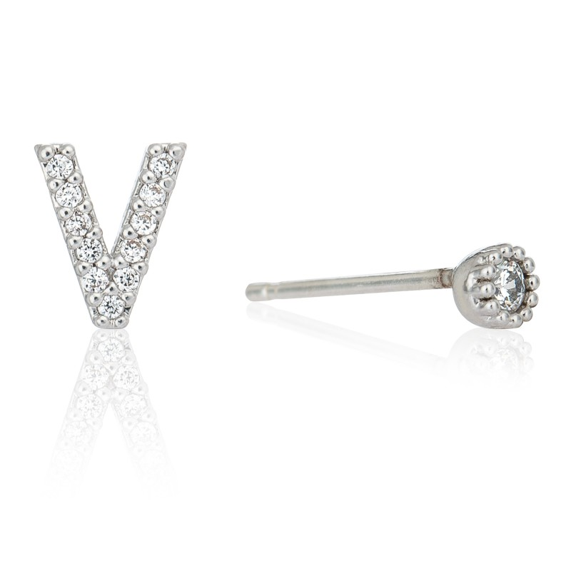 Initial 'V' stud earrings in silver