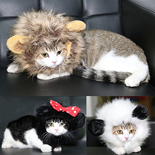 FAMI Pet Costume Panda Wig with Ears, Christmas Costumes Festival Party Clothes Fancy Dress up for Dog Cat - White Color : Pet Supplies