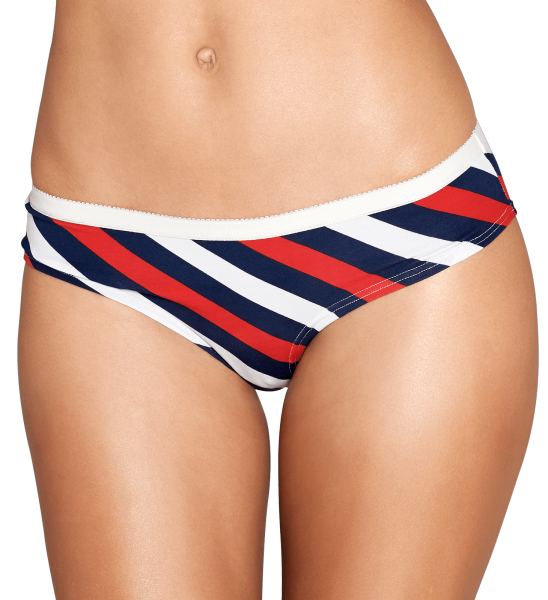 Women's Brief in Black, Red and White Polka Stripes