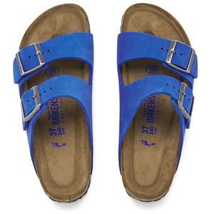 Birkenstock Women's Arizona Slim Fit Suede Double Strap Sandals - Blue - FREE UK Delivery