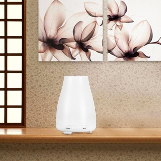 CITUS 100ML Ultrasonic Aromatherapy Oil Diffuser Cool Mist With Color LED Lights and Waterless Auto Shut-off Fuction for Home, Yoga, Office, Spa, Bedroom, Baby Room: Home & Kitchen