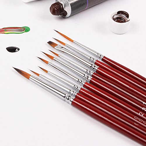 Fine Detail Paint Brush Set - 9 Pieces Miniature Brushes for Art Painting - Acrylic painting, Watercolor, Oil, Nail Art