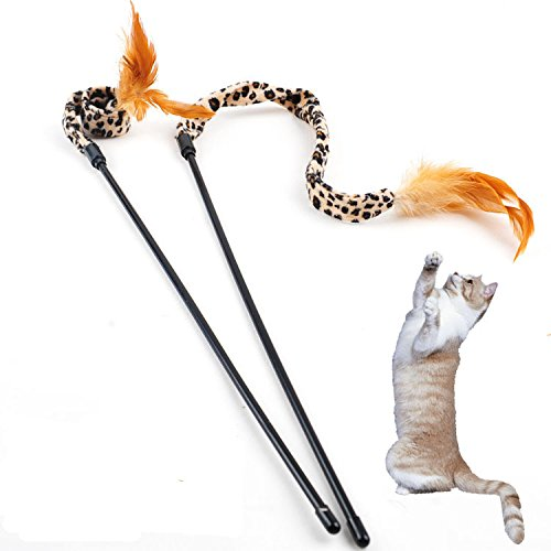 Cat Stick, Interactive Funny Flying Feathers Cat Toy Teaser Wand - with Natural Feathers Are Guaranteed To Drive Your Cat Wild, 2 Pack(Color Random) : Pet Supplies