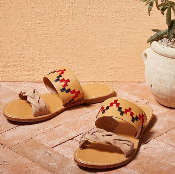 Soludos Vachetta Leather Embroidered Braided Slide Sandal for Women - Soludos Espadrilles