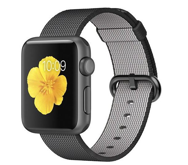 Apple Watch Sport 38mm Space Gray Aluminum Case Black Woven Nylon Band