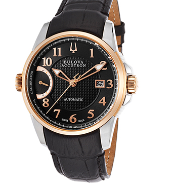 Accutron by Bulova Men's Calibrator Auto Black Leather and Textured Dial SS Rose-Tone BezelAccutron by Bulova 65B148 Watch
