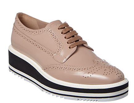 Prada Brushed Leather Lace-Up Derby Shoe
