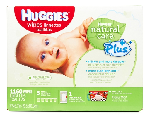 Huggies Natural Care Plus Wipes 1,160 Wipes - with Aloe + Vitamin E