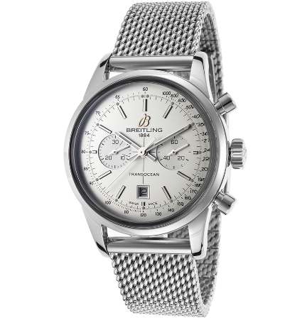 Breitling Women's Transocean 38 Automatic Chrono Stainless Steel Silver-Tone Dial SS | World of Watches