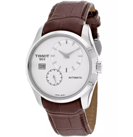 Tissot Men's Couturier Automatic Brown Genuine Leather White Dial SS | World of Watches