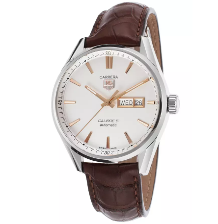TAG Heuer Men's Carrera Automatic Brown Genuine Alligator Silver-Tone Dial SS | World of Watches