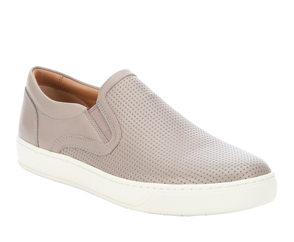 Vince Smoke Perforated Leather 'ace' Slip-On Sneakers