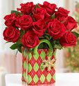 One Dozen Red Roses with Ceramic Vase