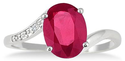 Oval Created Ruby and Diamond Size 7 Ring