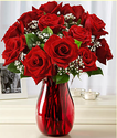 $40One Dozen Red Roses w/ Ruby Vase