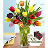 $19.9915 Multi-Colored Tulips for Mom & FREE Chocolates + Free Glass Ginger Vase
