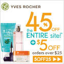 45% OFF + $5 off $25The Biggest Summer Sale @ Yves Rocher