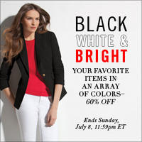 2 Days Only!60% Off Your Favorite Items in Black, White & Bright at Jones New York