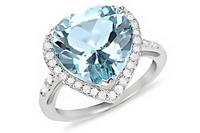 7.38 CT Blue & White Topaz Sterling Silver Ring from Ice.com