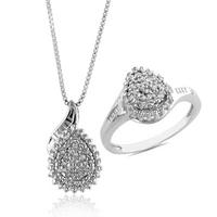 $29Sterling Silver Diamond Accented Pear Shape Necklace and Ring Set
