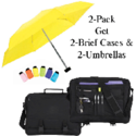 Brief Case with Micro Umbrella 2-Pack