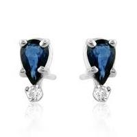 $32.990.70ct TW Sapphire & Diamond Accented Stud Earrings in Sterling Silver