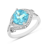 $324.50 Carat tw Blue Topaz & Sapphire Ring in Sterling Silver