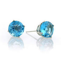 $203.00 Carat tw Round Blue Topaz Stud Earrings in Sterling Silver