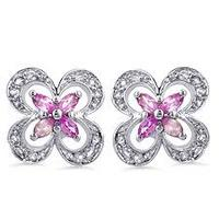 $17.97Sterling Silver Pink & White Sapphire Flower Earrings