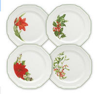 Antique White Assorted Christmas Dinner Plates, Set of 4