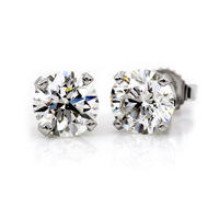$21914K WG 1/2ctw Round Diamond 4-Prong Stud Earrings (H-I,I2)