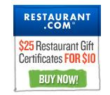 $10For $25 Gift Certificates @ Restaurant.com