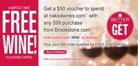Free $50naked wines Voucher with $99 order @ Brookstone