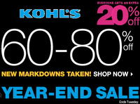 60%-80% OFF Year-End Sale + Extra 20% OFF@ Kohl's