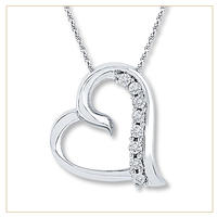 Diamond Heart Necklace 1/20 CT TW Round-cut Sterling Sliver @Kay Jewelers