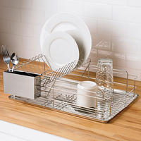 Brylane Home 2-Tier Stainless Steel Dish Rack