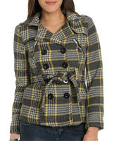 Wet Seal Women's Double Breasted Zippered Plaid Peacoat
