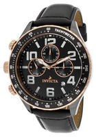 Invicta Men's Ceramics Chronograph Black Dial Black Genuine Leather