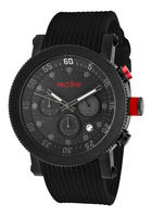 Red Line Men's Compressor Chronograph Black Dial w/Grey Accents Black Silicone