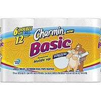 $23.99 Charmin® Basic Bath Tissue Rolls, 1-Ply, 48 Rolls/Case