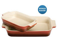 Cherry Red 10.5x7-in. Stoneware Rectangular Baker with Bonus by Le Creuset @Cooking.com