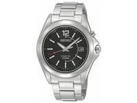 Seiko Stainless Steel Black Dial Kinetic Mens Watch SKA477